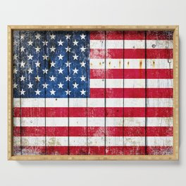 Distressed American Flag On Wood Planks - Horizontal Serving Tray