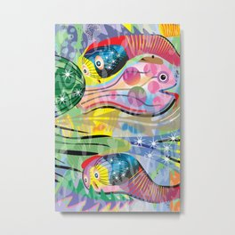 Hippy Fish in Rainbow Glow Metal Print