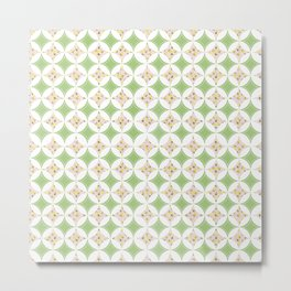 Lemon Windows - Pink & Green on White  Metal Print