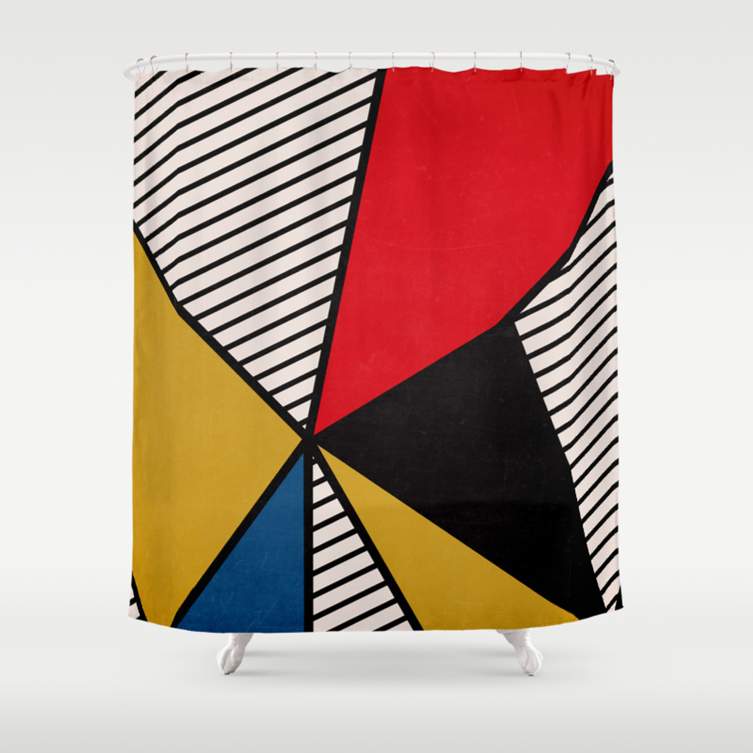 Primary Colors And Stripes Shower Curtain