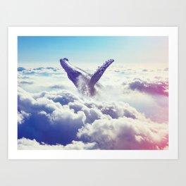 Cloudy whale Art Print