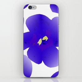 Large Retro Blue Flowers #1 White Background #decor #society6 #buyart iPhone Skin