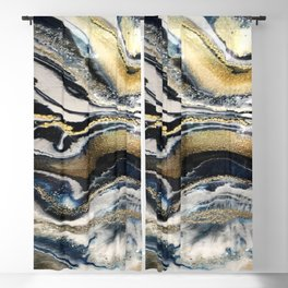 Flowing Geode Blue & Gold Blackout Curtain