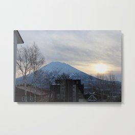 Snow Top Volcano Metal Print