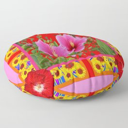 TROPICAL RED-PINK HIBISCUS FLOWERS PATTERNS Floor Pillow