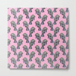 Pink Watercolor Manatee Pattern Metal Print