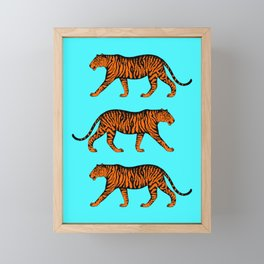 Tigers (Blue and Orange) Framed Mini Art Print