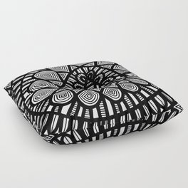 Black and White Doodle 7 Floor Pillow