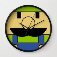 luigi Wall Clocks featuring Minimal Luigi by pruine