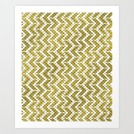 White & Gold Arrow Pattern with Black Polka Dots Art Print