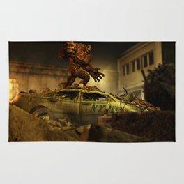 The Infernal Behemoth - Hell in The City - Fantasy  Artwork Rug