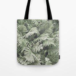 Fern Pattern Dull Green Print Tote Bag