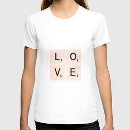 LOVE Scrabble Tiles on Custom Vector Wood Background T-shirt