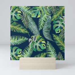 Jungle Leaves, Banana, Monstera, Blue Mini Art Print
