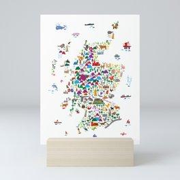Animal Map of Scotland for children and kids Mini Art Print