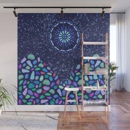 Sea Glass Mountain Night Mosaic Wall Mural