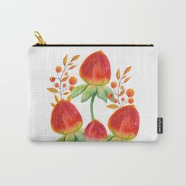 Hand painted orange red green watercolor fall floral Carry-All Pouch