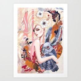 RABBIT AND CARROTS Art Print