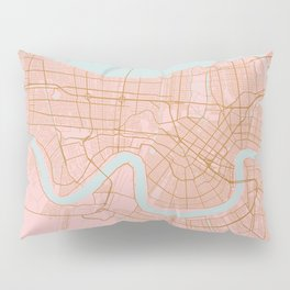New Orleans map, Lousiana Pillow Sham