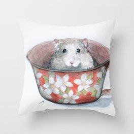 Rat in a cup Throw Pillow