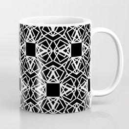 geo lace - white on black Coffee Mug