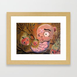 Larva Boy in the Enchanted Forest Framed Art Print