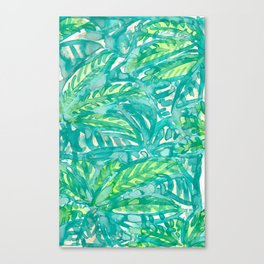 Turquoise & Lime Leaves Canvas Print