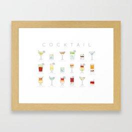 Cocktails flat menu horisontal white Framed Art Print