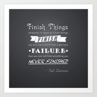 neil gaiman Art Prints featuring Finish Things - Neil Gaiman by ADRAWER4EVER