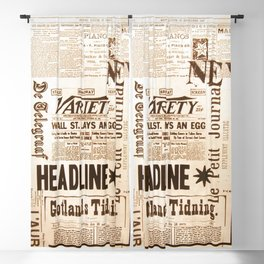 Vintage Newspaper Ads Black and White Typography Blackout Curtain