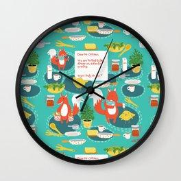 Kitchen funnies art print Wall Clock