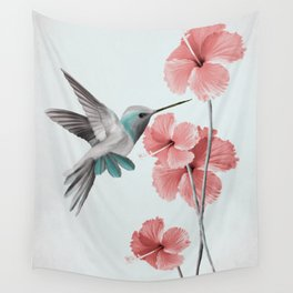 Hummingbird with Hibiscus Wall Tapestry