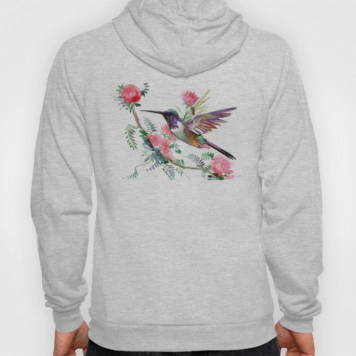 Flying Hummingbird and Red Flowers Hoody
