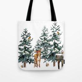 Christmas Winter Wonderland Fawn Tote Bag