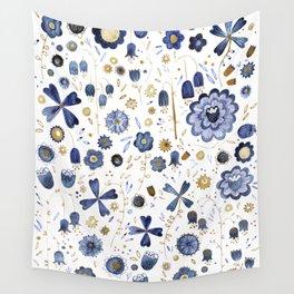 Indigo Flower Mashup Wall Tapestry
