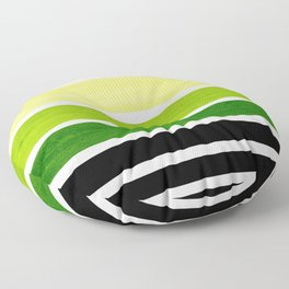 Sap Green Minimalist Mid Century Modern Color Fields Ombre Watercolor Staggered Squares Floor Pillow