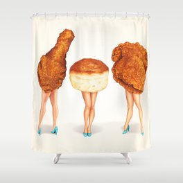 Two Piece & a Biscuit Pin-Ups Shower Curtain