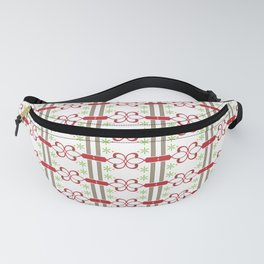 Ornaments damask seamless red green squares curves pattern Fanny Pack