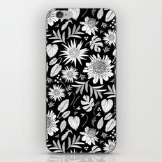 TROPICAL FLORAL BLACK & WHITE iPhone & iPod Skin