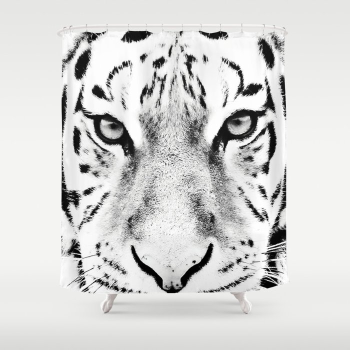 White Tiger Print Shower Curtain