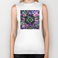 tie dye Biker Tanks featuring Colorful Tie Dye Abstract by Phil Perkins