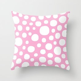 Pink Negative Dots w/ White Background Throw Pillow