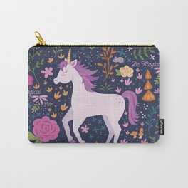 Be Magical Unicorn Pattern in a Garden Carry-All Pouch
