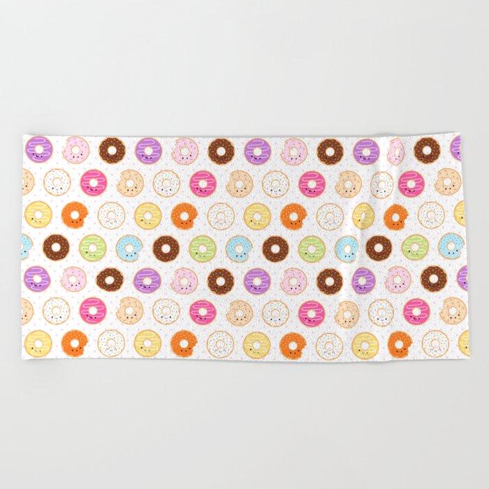 Happy Cute Donuts Pattern Beach Towel