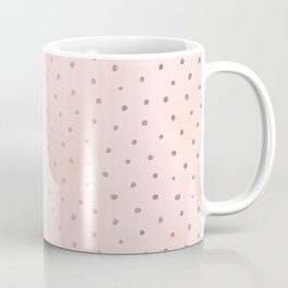 Rose Gold Pastel Pink Foil Paint Line Dots XXIII Coffee Mug