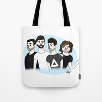 bastille Tote Bags featuring Bastille v1 by Eriboo