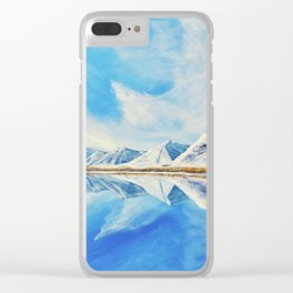 Maskinonge Waterton Lakes Winter Reflection Clear iPhone Case