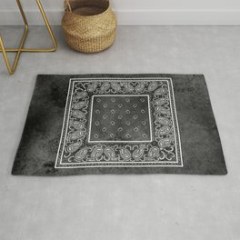 Black Denim Bandana Rug