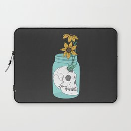 Skull in Jar with Flowers Laptop Sleeve