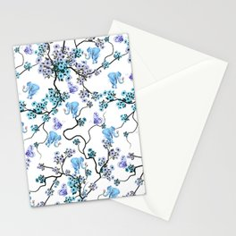 Modern lavender teal floral elephant butterfly pattern Stationery Cards